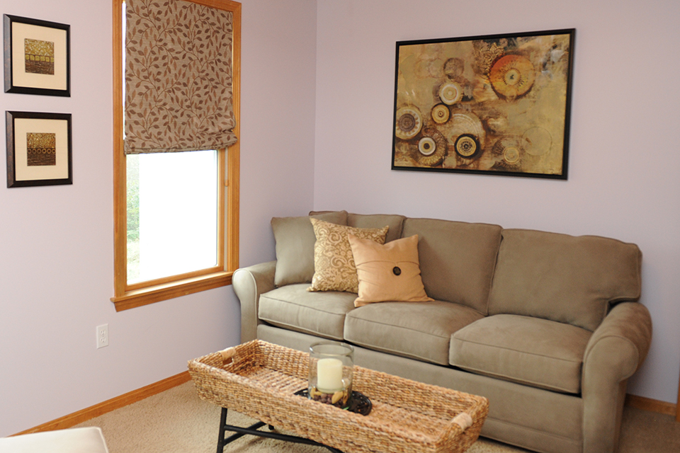Lavender Room - Sofa - Accessories - A Home for the Whole Family - Monson Mass Interior Design