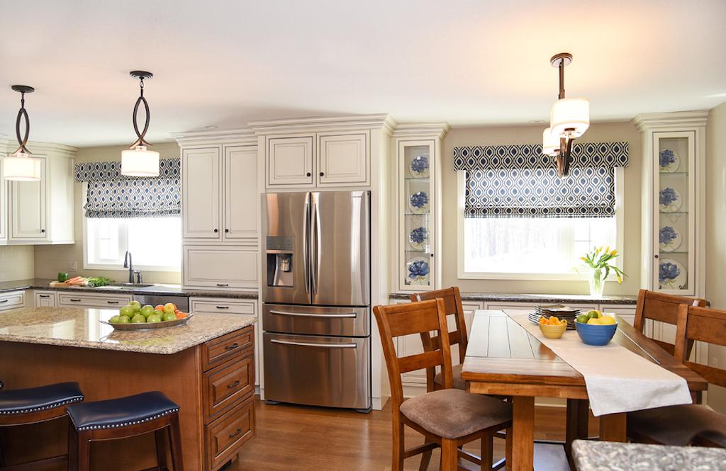 Open Kitchen - Off White Cabinets - Cream Cabinets - Blue Stools - The Empty Nester's Dream - Massachusetts Interior Design