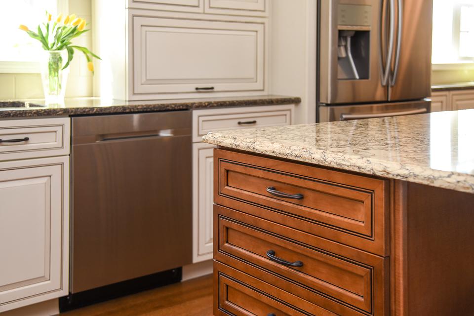 Two-Tone Cabinets - Different Finish Cabinets - Quartz Counters - Massachusetts Interior Designer