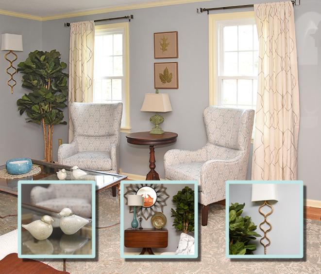 Transitional Blue Living Room - Details Full Service Interiors - Massachusetts Interior Decorator