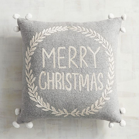 Gray Christmas Holiday Pillow - Details Full Service Interiors - Monson Interior Decorator