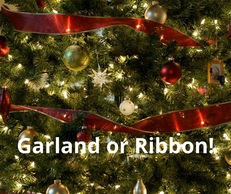 Hang garland or ribbon before you hang ornaments - Details Full Service Interiors - Monson Interior Designer