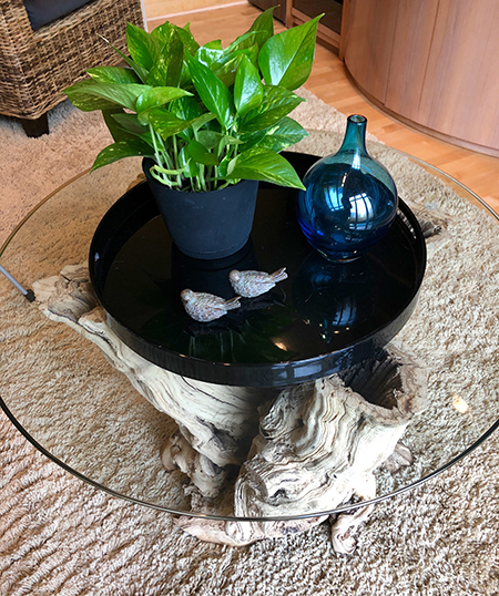 Small round glass coffee table - Details Full Service Interiors - Interior Designer in Mass