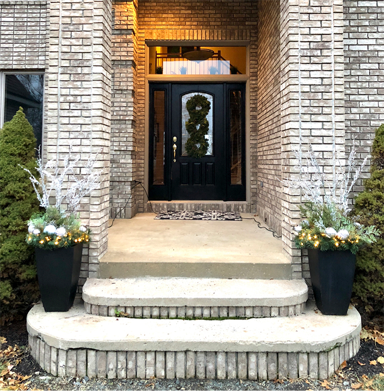 Christmas front entry - Front Porch - Details Full Service Interiors - Monson Interior Designer