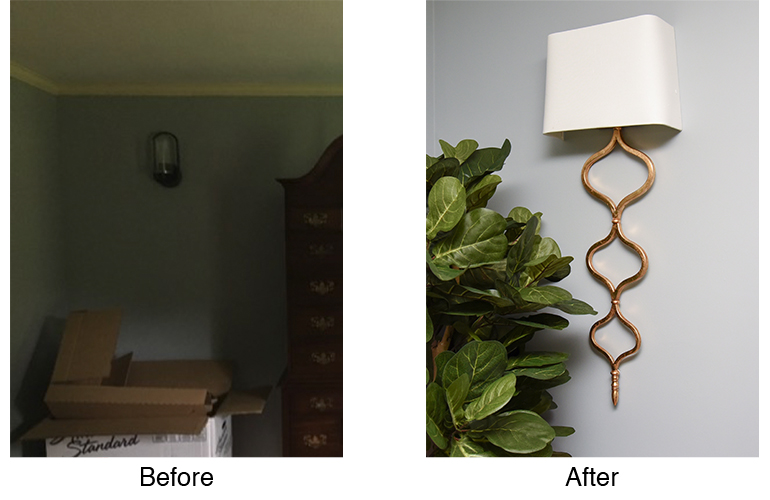Gold Sinuous Sconce - Long Wall Sconce - Details Full Service Interiors - Monson Interior Designer