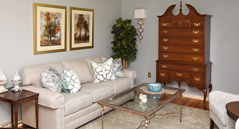 Fresh Blue Updated Living Room With Antiques - Details Full Service Interiors - Mass Interior Design