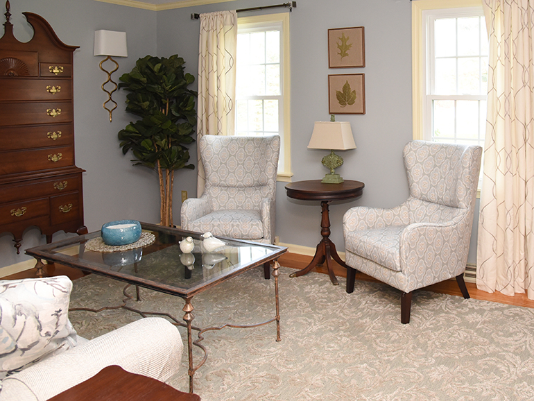 Using antiques in an updated blue living room - Details Full Service Interiors - MA Interior Decorator